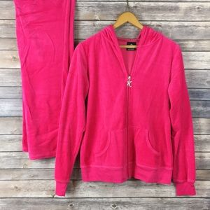 Women's hot pink velour track suit